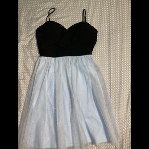 Mini party dress with light blue sparkly tooling
